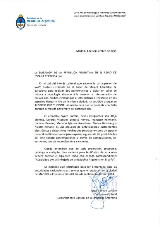 Auspicio a SSE - Embajada Argentina en Espan_a